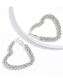 Fashion Silvery Heart-shaped Diamond Earrings