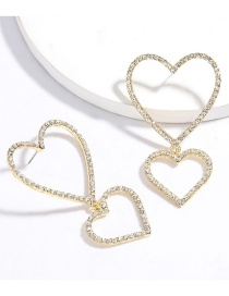 Fashion Golden Multilayer Love Heart Diamond Earrings