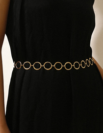 Fashion White K Geometric Hollow Water Ripple Ring Handmade Waist Chain