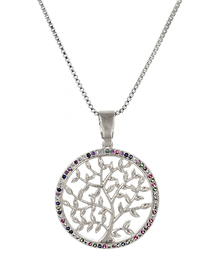 Fashion Silver Copper-set Zircon Round Life Tree Hollow Necklace