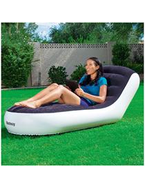 Fashion Black Single Folding Inflatable Stripe Flocking Sofa Recliner