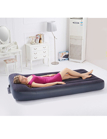 Fashion Black Double Flocking Built-in Pillow Inflatable Mattress