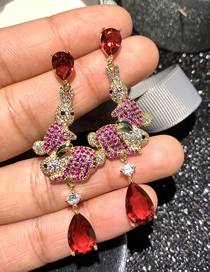 Fashion Red Rabbit Water Drop Micro-set Zircon Long Earrings