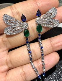 Fashion Blue Dragonfly Micro Zircon Tassel Alloy Earrings