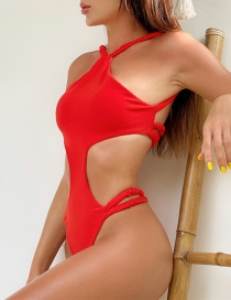 Fashion Red One-piece Swimsuit With Shining Back And Hanging Neck