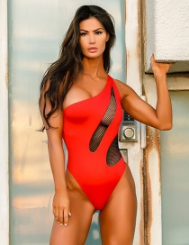 Fashion Red Mesh One-shoulder Stitched Open One-piece Swimsuit