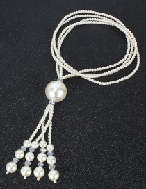 Fashion Rice White Crystal Pearl Geometric Round Multilayer Sweater Chain