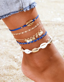 Fashion Royal Blue Shell Braided Disc Alloy Anklet Set