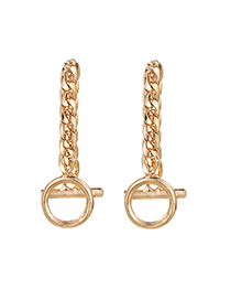 Fashion Golden Alloy Chain Geometric Stud Earrings