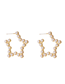 Fashion Golden Alloy Pearl Five-pointed Star Stud Earrings