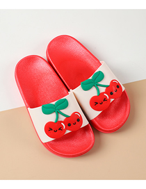Fashion Cherry Fruit Animal Hit Color Non-slip Soft Bottom Word Children Slippers