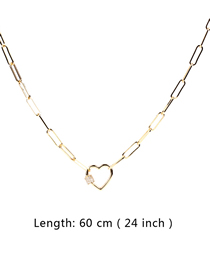 Fashion 60cm Thick Chain Necklace With Diamond Love Buckle