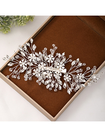 Fashion White Crystal Hand-woven Flower Branch Hairpin