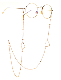 Fashion Heart Triangle Geometry Color Retention Beaded Glasses Chain