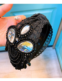 Fashion Black Lace Heavy Industry Sequined Broadband Hairband