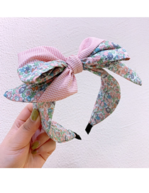 Fashion Pink Small Flower Printing Bow-knot-knot Headband