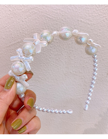 Fashion White Imported Frosted Pearl Bow Fine-edged Headband