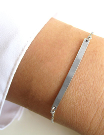 Fashion Steel Color Stainless Steel Word Smile Stitching Chain Bracelet