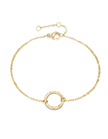 Fashion 14k Gold Hollow Round Adjustable Chain Bracelet