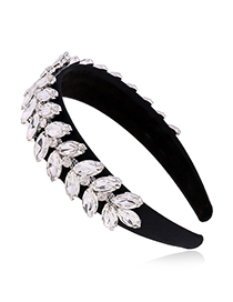 Fashion White Diamond-studded Crystal Leaf Wide-breasted Hair Band