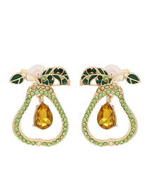 Fashion Green Diamond Dropped Pear Shaped Hollow Alloy Earrings