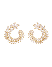 Fashion White Micro-set Zircon Leaf Alloy Earrings