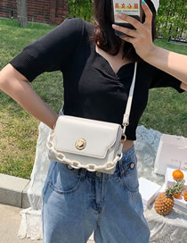 Fashion White Acrylic Chain Flip Shoulder Bag