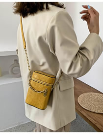 Fashion Yellow Chain Snake Print Crossbody Shoulder Bag