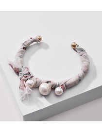 Fashion Gray Natural Shell Pearl Silk Woven Alloy Bracelet