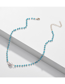 Fashion Blue Natural Shell Pearl Crystal Bead Alloy Necklace