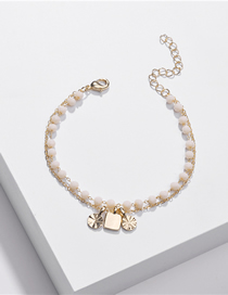 Fashion Light Pink Crystal Bead Chain Alloy Resin Bracelet