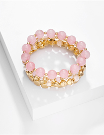 Fashion Pink Set Of 4 Natural Stone Bead Resin Multilayer Bracelets