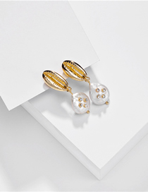 Fashion White Natural Shell Pearl Diamond Alloy Earrings
