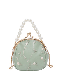 Fashion Large Green Woven Lace Chain Pearl Shoulder Bag