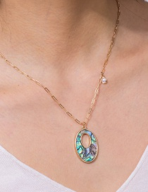 Fashion Oval Oval Color Abalone Shell Alloy Necklace