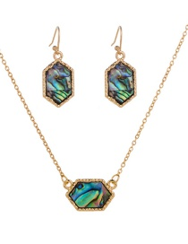 Fashion Golden Natural Color Abalone Shell Necklace Earring Set