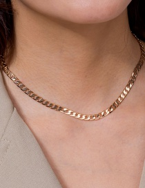 Fashion Golden Handmade Sequin Alloy Chain Single Layer Necklace