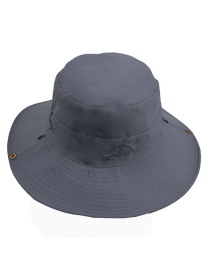 Fashion Dark Gray Folded Embroidery Double-sided Sun Protection Men's Fisherman Hat