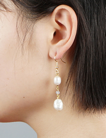 Fashion White Natural Freshwater Pearl Crystal Alloy Earrings