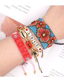 Fashion Suit Red Hand-woven Rice Bead Plum Shell Alphabet Bracelet