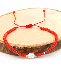 Fashion Red Natural Pearl Hand-woven Crystal Color-preserving Gold Bead Bracelet