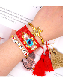 Fashion Suit Red Rice Beads Hand-woven Eye Letter Crystal Tassel Six-pointed Star Bracelet