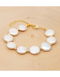 Fashion White Natural Freshwater Flat Round Pearl Color Bracelet