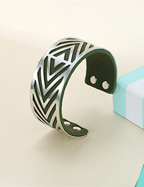 Fashion Silver Green Leather Striped Leather Alloy Adjustable Bracelet