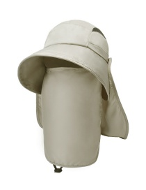 Fashion Beige Sunscreen Breathable Visor With Shrink Buckle Neck Cap