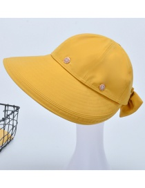 Fashion Turmeric Foldable Sun Protection Sun Hat With Bow