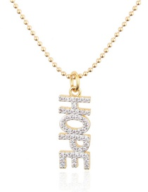 Fashion Gold-plated Copper Electroplated Zircon Letters Round Bead Chain Necklace