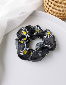 Fashion Black Net Yarn Small Daisy Print Large Intestine Loop Hair Rope