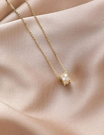 Fashion Champagne Gold Copper-inlaid Zircon Geometric Cylindrical Necklace