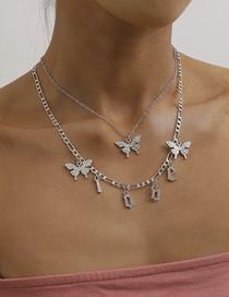 Fashion White K Alphabet Butterfly Tassel Alloy Multi-layer Necklace